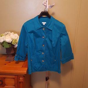 Woman's turquoise jacket